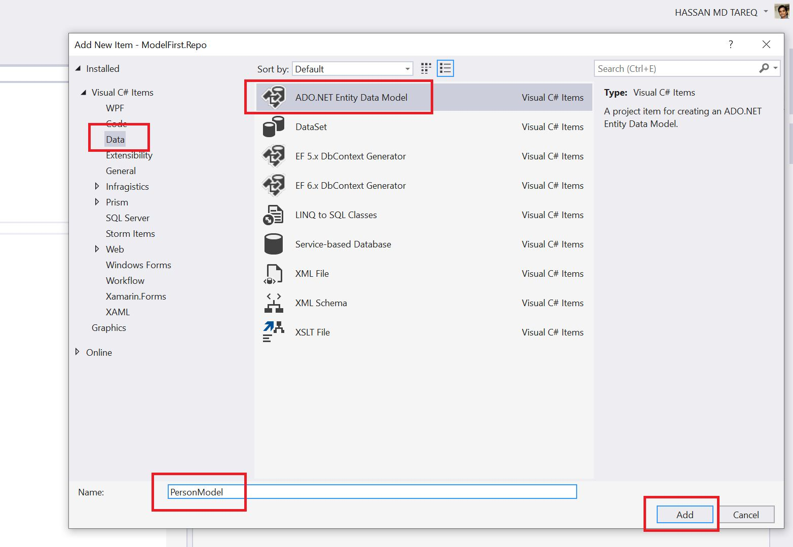 Entity Framework Model Fisrt Approach - Creating edmx Step 4